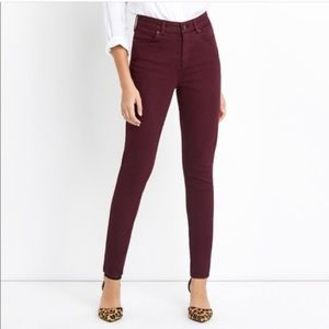 "Madewell- Skinny burgundy 9"" high rise jeans"